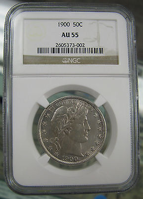 1900 50C. Barber Half Dollar About Uncirculated NGC AU55