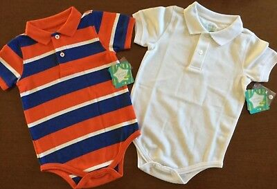 Nwt Nursery Rhyme Boys Pique Polo Bodysuits ~Lot Of Two  Size 24 Months Msrp $36