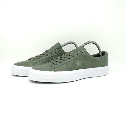 56034cb626a New Converse One Star Olive Green Leather UK Size 10.5 Trainers 155546c Le  Fleur