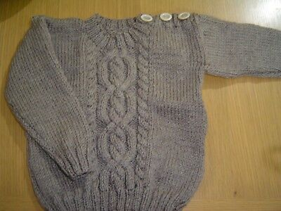 "Baby Boys Handknitted 22"" Coffee Aran Jumper Approx 18-24 months"