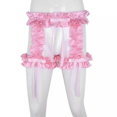 Made To Measure Sissy Maid Frilly Satin Open Crotch Knickers With Thigh Garters