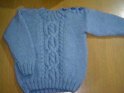 "Baby Boys Handknitted 22"" Saxe Blue Jumper Approx 18-24 months"