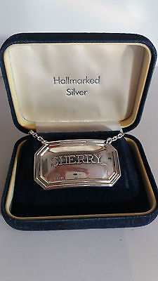 "Vintage Sterling Silver DECANTER Label for ""SHERRY"" Boxed, 1998 Birmingham"
