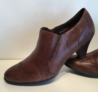 94f9a3e85b6e BORN BROWN LEATHER Side Zip Ankle Boots Booties Womens Size 11 M ...