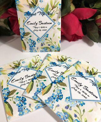 Forget Me Not Funeral Favors 25 Seed Packets Personalized Seeds Included