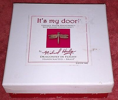 Michael Healy Dragonfly Door Knocker Brass With Black Inlay Mhs21 New In Box