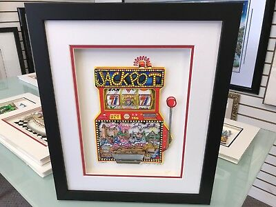 """Charles Fazzino """" Slots of Fun """" 3-D Art Signed & Number Deluxe Edition Framed"""
