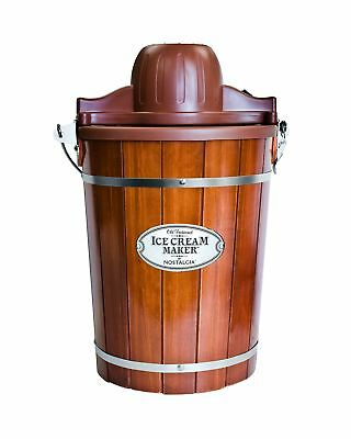 Nostalgia ICMP600WD Wood Bucket Ice Cream Maker, 6-Quart 6-Quart Wood Bucket