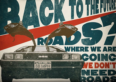 1985 Back To The Future Alternate Movie Poster > Print > Marty McFly > Delorean