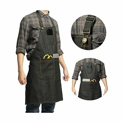CZHEZEE Heavy Duty Denim Jean Tool Apron with Pockets Waterproof Waxed Canvas...