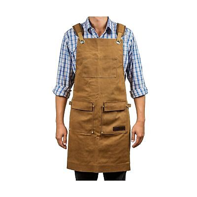 Luxury Waxed Canvas Shop Apron | Heavy Duty Work Apron for Men & Women with P...