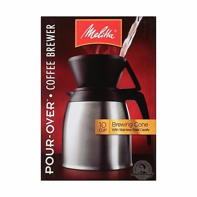 Melitta Coffee Maker, 10 Cup Pour- Over Brewer with Stainless Thermal Carafe,...