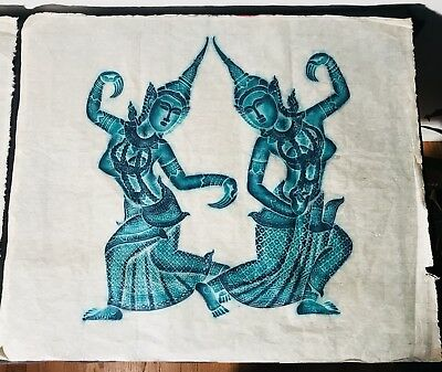 Pair Of Vintage 1960s Thai Cambodian Angkor Wat Rice Paper Temple Rubbings