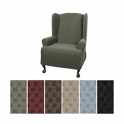 C Maytex Pixel Ultra Soft Stretch Wing Back Arm Chair Furniture Cover Slipcover