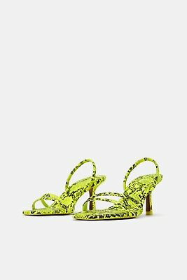 d2abfd2b277 Zara New Animal Print Heeled Sandals Lime Green Strappy Stiletto Size Uk 2-9