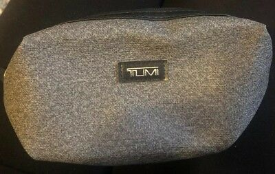 Tumi For Delta Travel NFR Toiletry Kit Bag Gray Zip Up EUC Pouch Case Makeup