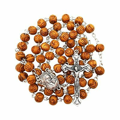 BLESSED CATHOLIC ROSARY NECKLACE Olive Wood Carved Beads With Jerusalem Soil ...