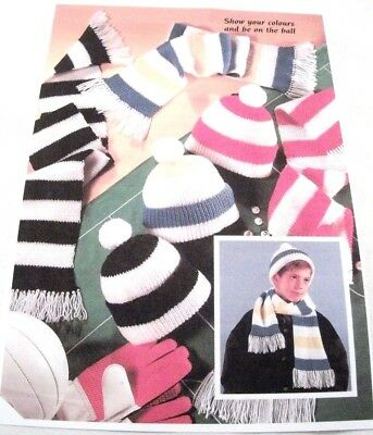 Children S Striped Football Hat Scarf D K Knitting Pattern