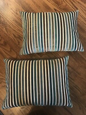 Striped Throw Pillows Set Of Two Indoor Outdoor 17 X 17 30 00