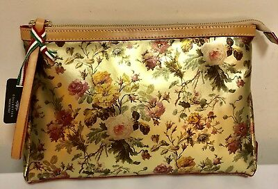 NWT Cavalcanti Italy Leather Floral Roses Wristlet Or Cosmetic Bag Auth  Large 2eca3a39ce8fb