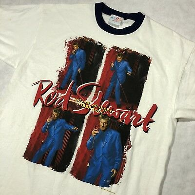 vtg 90s 1998 ROD stewart rock band ringer tee All Rod all night 1998 tour sz 2f64a45e9c32