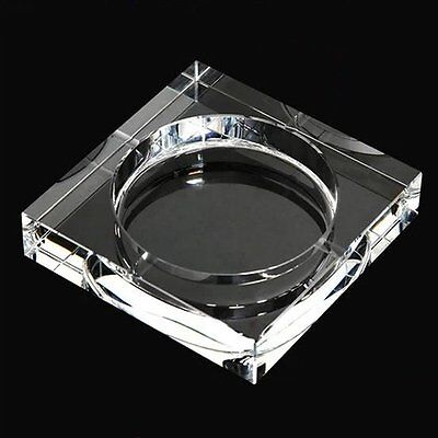 Clear Crystal Glass Square Table Top Cigar Ash Tray- Home Office - Heavy!