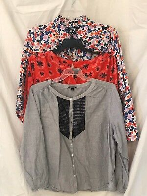 Lands End 26w Blouse Top Paisley Orange Blue Yellow White Buttondown