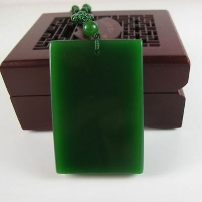 China hand-carved Green jade No plate Pendant Necklace Amulet-Free Necklace%