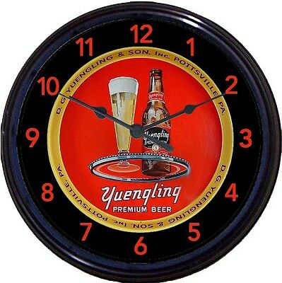"""Yuengling Black Label Pottsville PA Beer Tray Wall Clock DG Yeungling & Sons 10"""""""