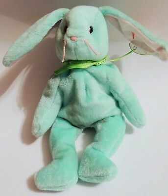 GREEN EASTER HIPPITY BUNNY BEANIE BABIES RETIRED 1996 w/TAG ERROR PE PELLETS NEW