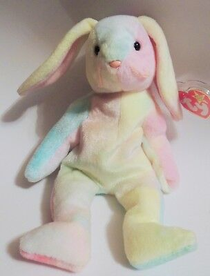 TIE-DYE HIPPIE EASTER BUNNY TY BEANIE BABY RETIRED 1999 PE PELLETS w/TAG PROTECT