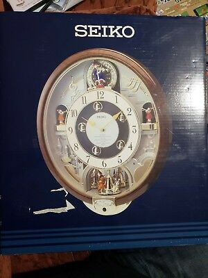 NEW Seiko Melodies In Motion Musical Wall Clock Plays 7 BEATLES Songs QXM109ZRH