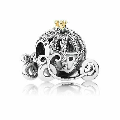 Authentic Pandora Charms 925 ALE Sterling Silver Gold Crystal Cubic Zircon Bead
