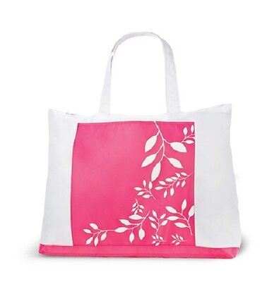 """Yves Rocher Large Beach Bag With Leaf (Pink & White) 20"""" L X 15.5"""" H X 7"""" W- New"""