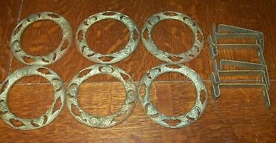 Lot 6 Vintage Art Deco Nouveau Metal Curtain Tie Backs Rings + Brackets