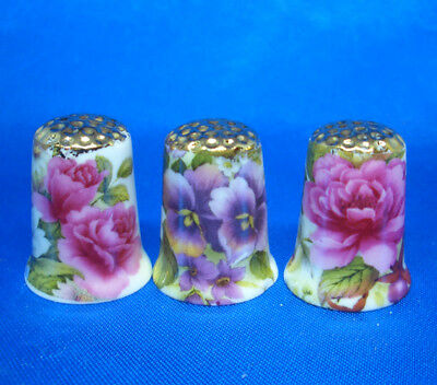Fine Porcelain China Thimbles - Set Of Three  Summer Flowers Gold Top