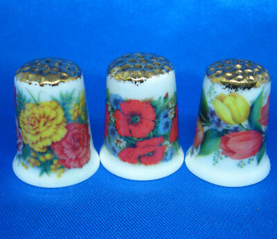 Fine Porcelain China Thimbles - Set Of Three  Show Flowers Gold Top
