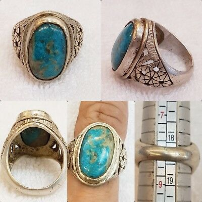 Wonderful Persian Nishapur Natural Turquoise Old Silver Beautiful Ring  # 63