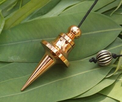 Copper plated Trouvier chamber metal healing dowsing pendulum 5 CM on cord