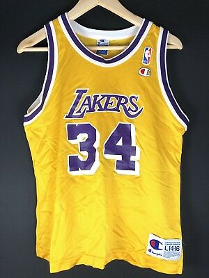 Kids L14-16 Authentic Champion SHAQ LAKERS NBA Basketball Trikot Jersey KOBE