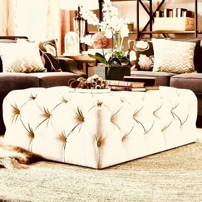 New Chesterfield Style deep Buttoned Footstool/Coffee Table Cream Velvet !