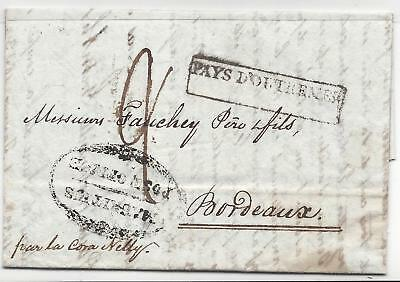 MAURITIUS ILE MAURICE 1833 to France Early MAURITIUS POST OFFICE OVAL MARK PS4