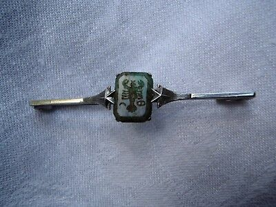 Art Deco 1930s Sterling Silver Intaglio Scorpio carved in Jade bar brooch