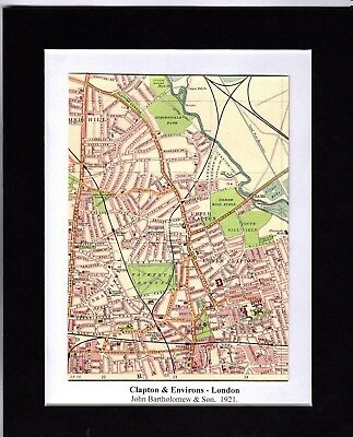 Antique MAP ~ CLAPTON & ENVIRONS London ~ 1921 Bartholomew MOUNTED Original
