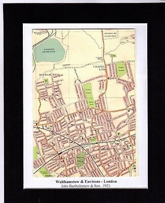 Antique MAP ~ WALTHAMSTOW & ENVIRONS London ~ 1921 Bartholomew MOUNTED Original