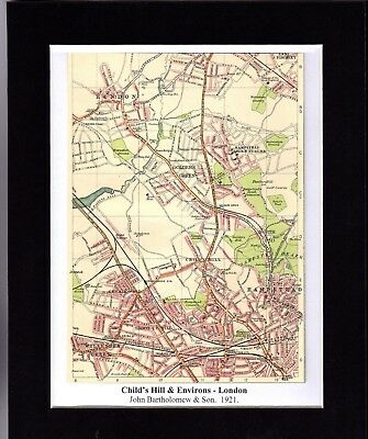 Antique MAP ~ CHILD'S HILL & ENVIRONS London ~ 1921 Bartholomew MOUNTED Original