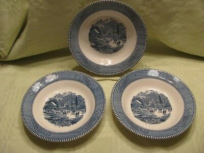 """Currier and Ives 3 Soup Bowls - Blue - Early Winter Pattern - 8.5"""" by Royal"""