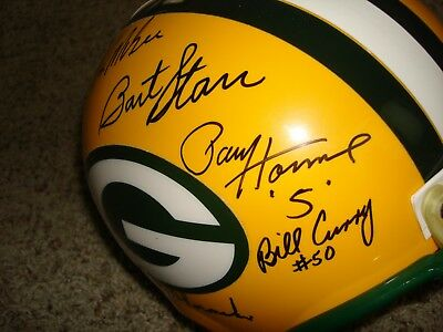 Lombardi-Era Signed Green Bay Packers Replica Riddell Helmet Signed by 7  HOFers+ 1c3653bed