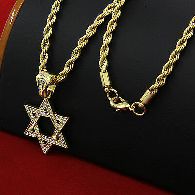 """Mens 14k Gold Plated Hip-Hop Star Of David Pendant 30"""" Rope Chain Necklace D686"""
