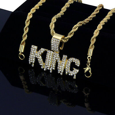 """Men's Hip Hop 14k Gold Plated Iced Out Cz Drip KING Pendant Rope Chain 24"""""""